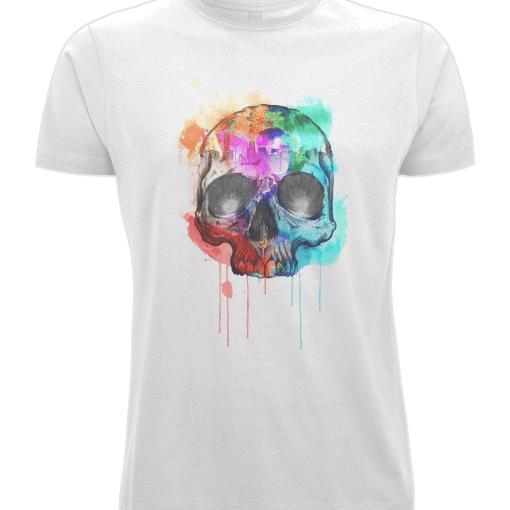 exploding paint skull tshirt