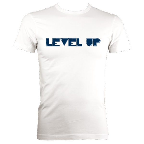 White tshirt with LEVEL UP Motif