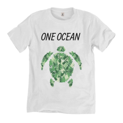 Green Turtle on white Tshirt