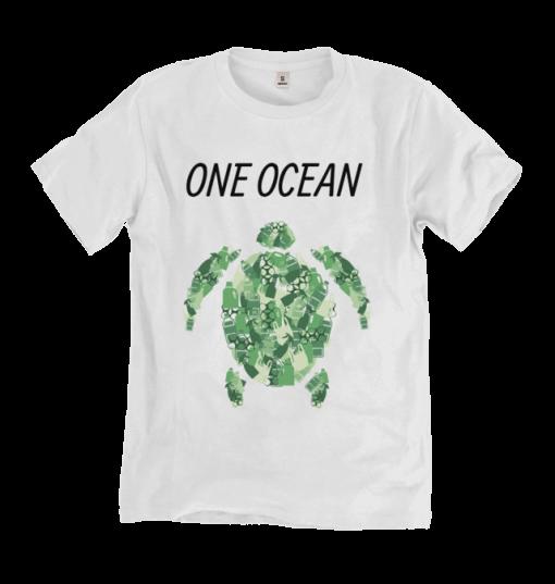 Green Turtle on white Tshirt