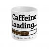 White mug with caffeine Loading please wait graphic