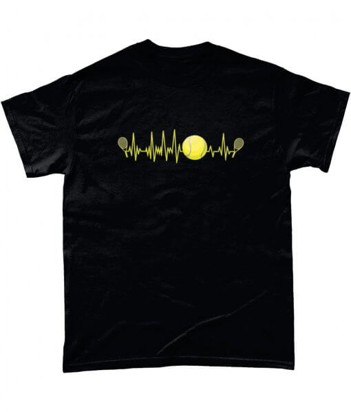 Black T-shirt with tennis pulse design