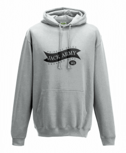 Grey hooded sweatshirt with Jack Army Swansea design