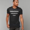 Model wears black tshirt with København text