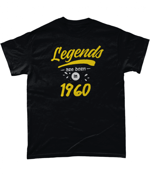 Black t-shirt with yellow Legends are born in 1960 design