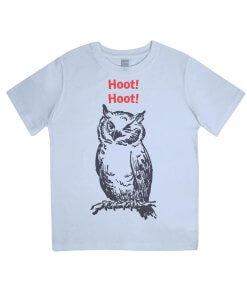 Hoot Hoot Owl Kids Tshirt (Blue)