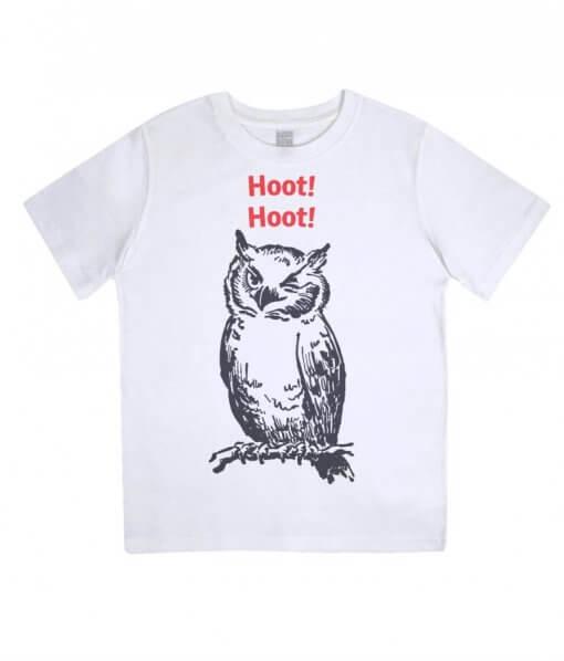 Hoot Hoot Owl Kids Tshirt (White)