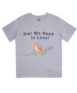 Owl you need is love kids tshirt (grey)