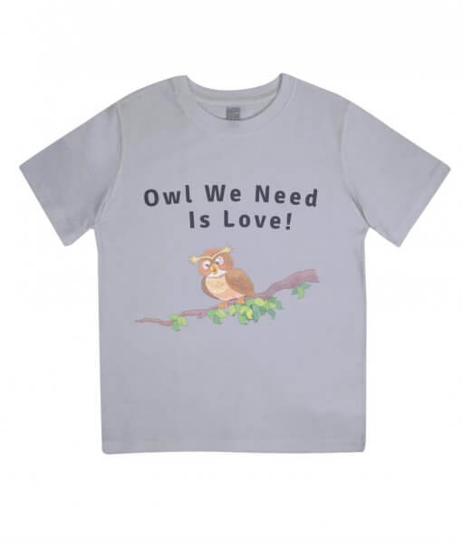 Owl you need is love kids tshirt (grey)