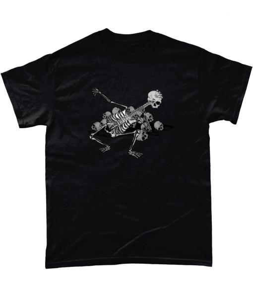 Black t-shirt with Skeleton Guitarist design