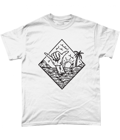 White tshirt with hand drawn tropical sunset design including palm tree, ocean and a hand coming out of the ocean