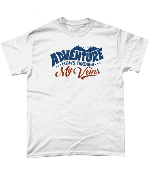 White t-shirt with Adventure Flows through my Veins design