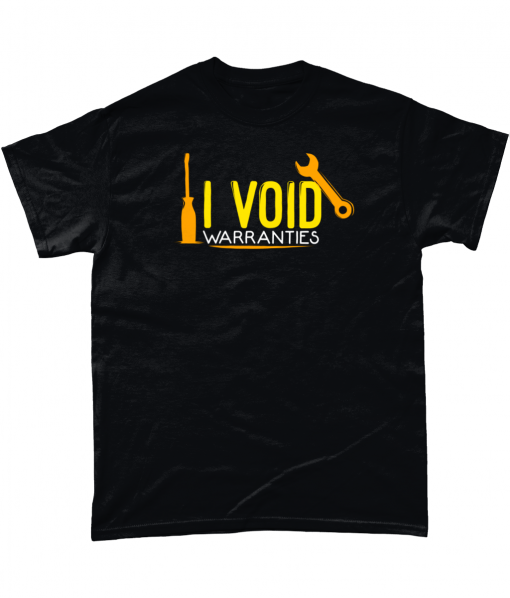"Black 100% cotton t-shirt with yellow and orange ""I Void Warranties"" design."