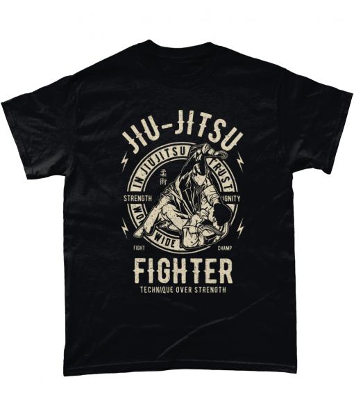 Black short sleeved t-shirt with Jiu Jitsu design