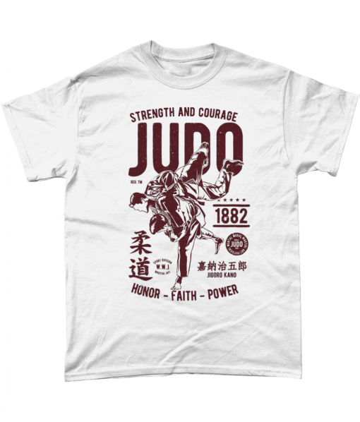 White t-shirt with Judo design - Strength and Courage