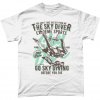 White t-shirt with sky diver design - go sky diving before you die
