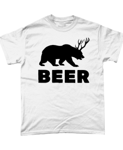 White t-shirt with bear that has antlers design bear and deer = beer