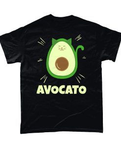 Black t-shirt with avocato design (a green avocado shaped cat)
