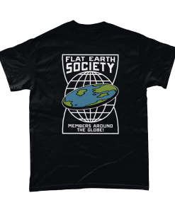 Funny Flat Earth Society T-Shirt with members around the globe design