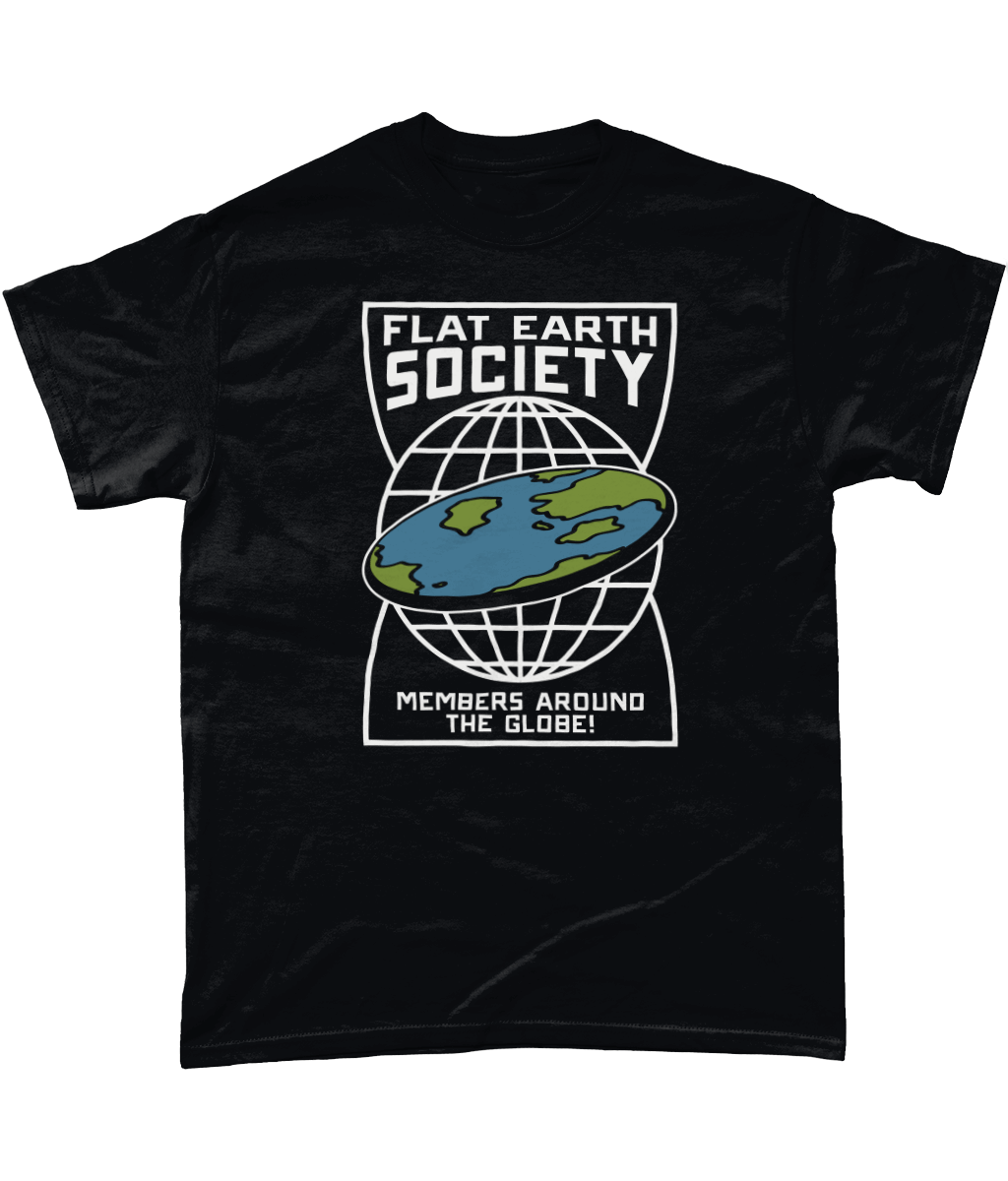 481dc743 Funny Flat Earth Society T-Shirt with members around the globe design
