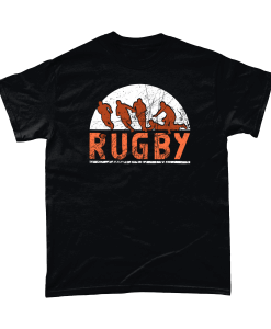 Black t-shirt with red Rugby (sport) design