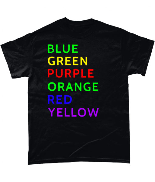 Black t-shirt with colour Word test (The Stroop Effect)