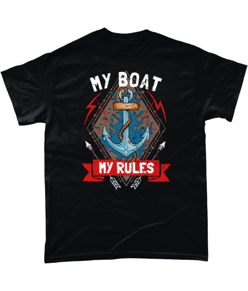 Black t-shirt with My Boat My Rules design
