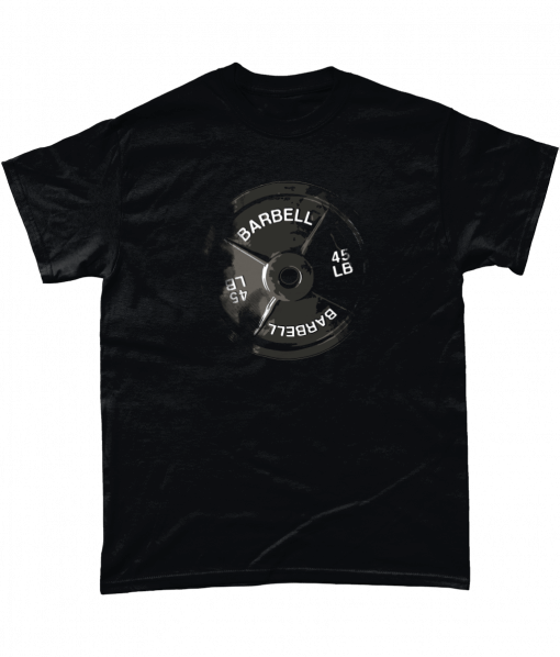 Black tshirt with barbell print
