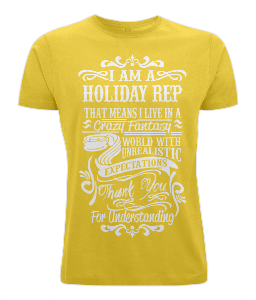 Yellow t-shirt - I am a holiday Rep
