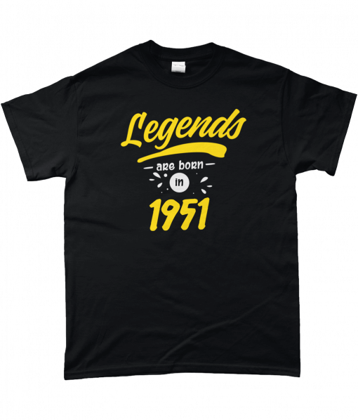 Legends are born in 1951 Black and yellow T-Shirt