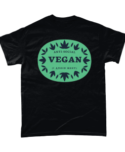 Black t-shirt with Anti-Social Vegan - I avoid meet design