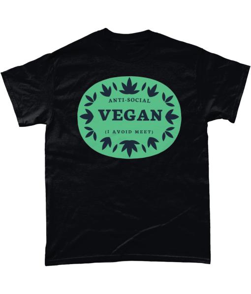 Black t-shirt with Anti-Social Vegan - I avoid meet design
