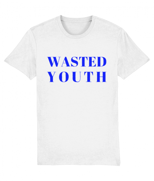 White tshirt with Wasted Youth typographic