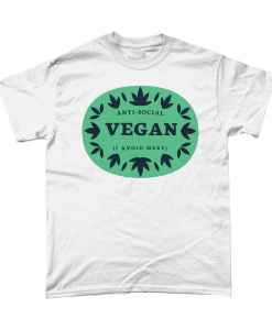 White t-shirt with Anti-Social Vegan - I avoid meet design