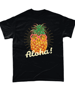 Aloha! Pineapple black t-shirt