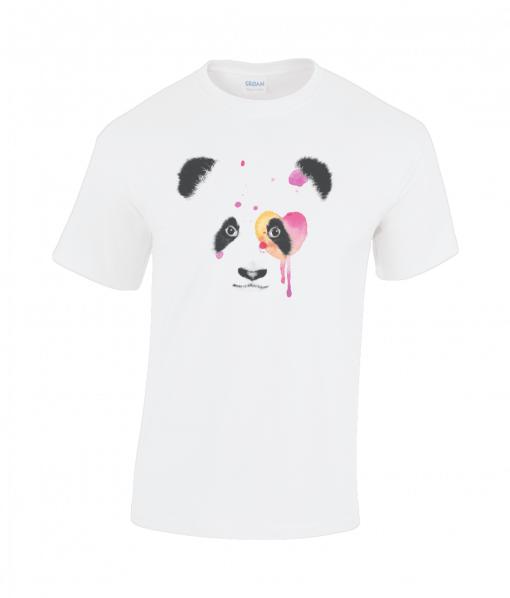 white t-shirt with panda design