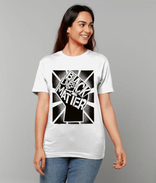 White T-shirt with Black Lives Matter Logo