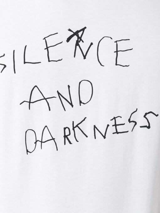 silence and darkness white tshirt