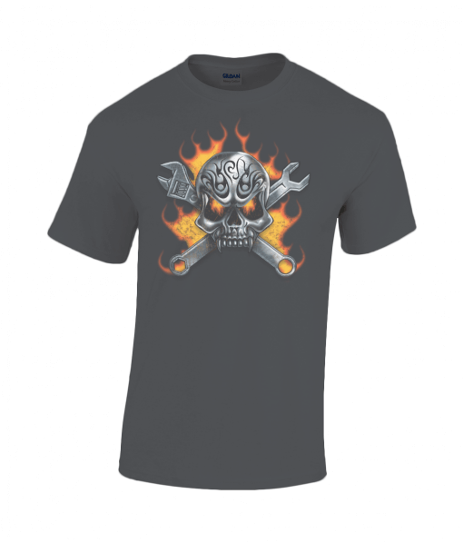 Black t-shirt with fiery skull and tools design