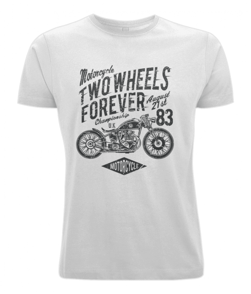 Two Wheels Forever - White T-shirt For Motorcycle Fans