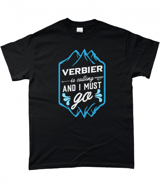 Black t-shirt with VERBIER is calling and I must go design